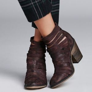 Free People Maroon Hybrid Strappy Ankle Bootie